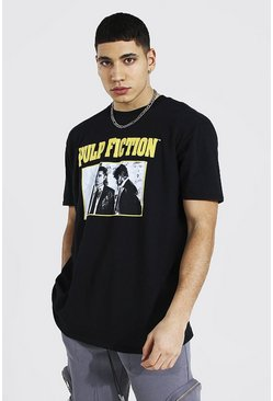 Black Oversized Pulp Fiction Photo License T-shirt