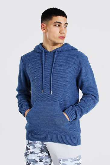 Dusty blue blue Knitted Over The Head Hoodie