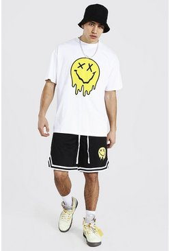 White Oversized Drip Face Tee and Mesh Short Set