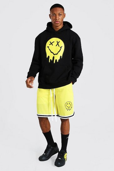 Yellow Oversized Drip Face Hoodie & Airtex Short Set