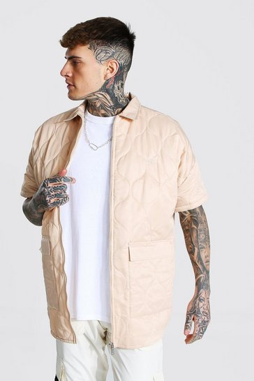 Beige Oversized Short Sleeve Quilted Shirt