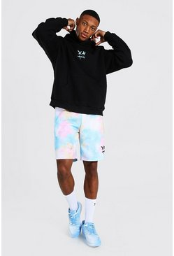 Black Oversize Drip Face Hoodie & Tie Dye Short Set