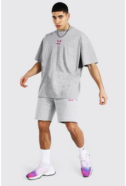 Grey marl grey Oversized Drip Face T-shirt & Short Set