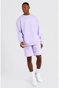 Lilac purple Oversized Drip Face Short Sweater Tracksuit