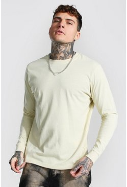 Sand beige Long Sleeve Crew Neck T-shirt