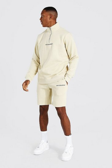 Sand beige Official Man 1/2 Zip Funnel Neck Short Tracks