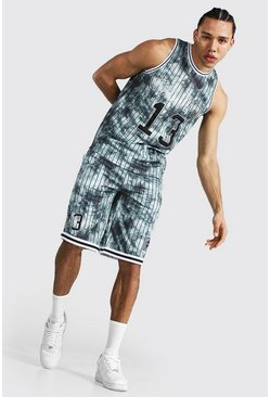 Dark grey grey Tall Worldwide Mesh Basketball Short Set