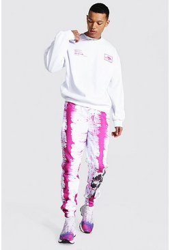 White Tall Oversized Palm Tree Tie Dye Tracksuit