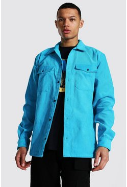 Tall Corduroy Button Through Overshirt, Aqua blau