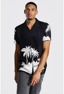 Black Tall Palm Print Revere Collar Shirt