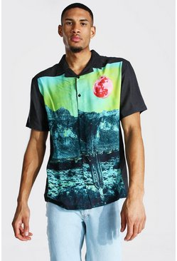 Black Tall Landscape Print Revere Collar Shirt