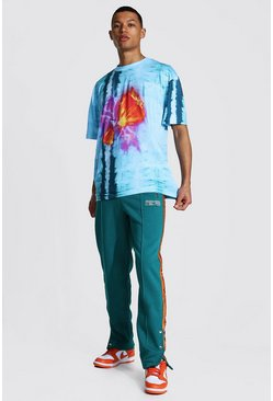 Blue Tall Oversized Tie Dye Tee With Popper Jogger