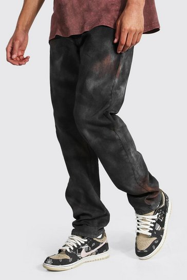 Brown Tall Straight Leg Jean With Tie Dye