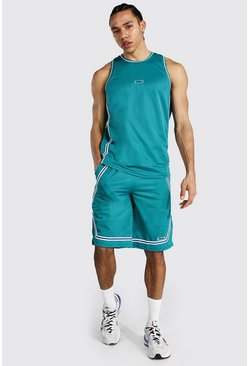 Green Tall Mesh Basketball Short Set