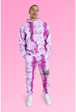Pink Tall Oversized Tie Dye Dual Zip Tracksuit