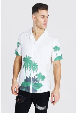 White Tall Palm Print Revere Collar Shirt