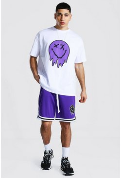 Purple Oversized Drip Face Tee And Mesh Short Set