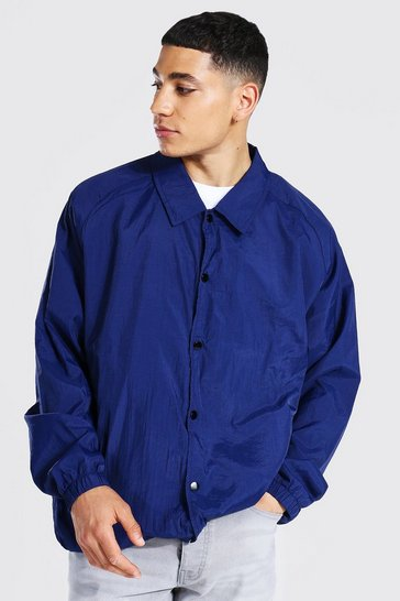 Navy Oversized Nylon Harrington