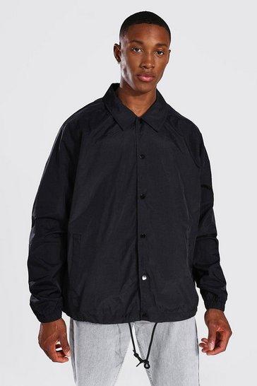 Black Oversized Nylon Harrington