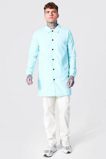 Pale blue blue Longline Nylon Harrington
