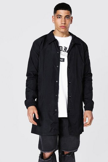 Black Longline Nylon Harrington