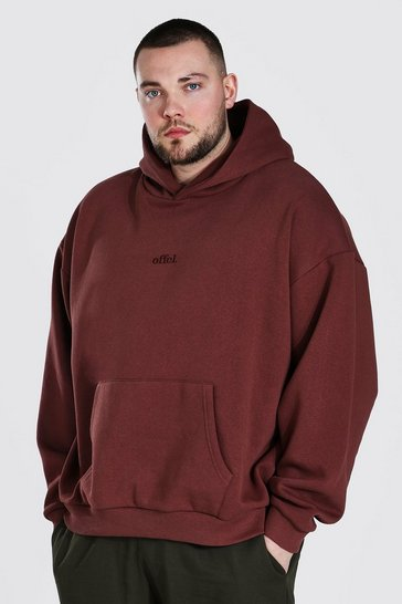 Chocolate brown Plus Size Heavyweight Offcl Emb Hoodie