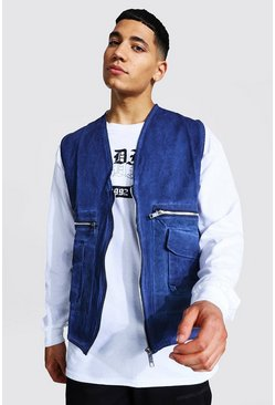 Navy Acid Wash Utility Vest