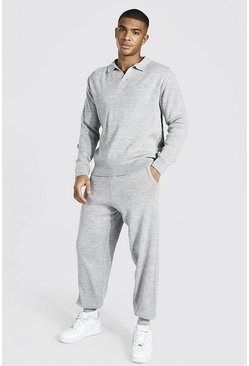 Grey marl grey Long Sleeve Knitted Polo & Jogger Set
