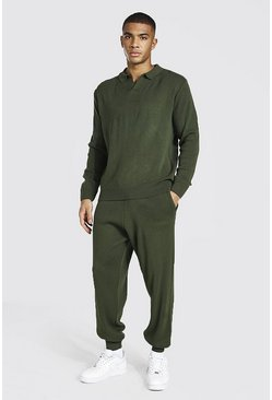 Khaki Long Sleeve Knitted Polo & Jogger Set