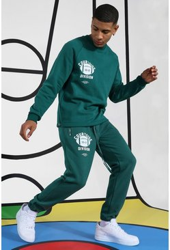 Green Courtside Tracksuit With Extended Neck