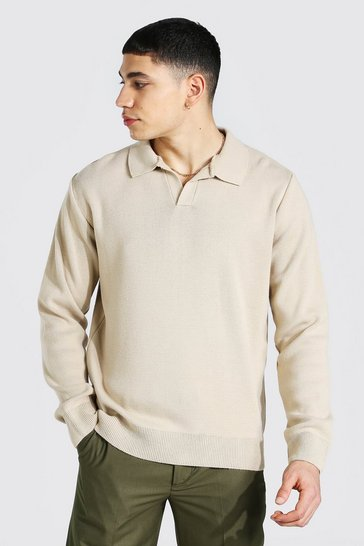 Stone beige Long Sleeve Revere Collar Knitted Polo
