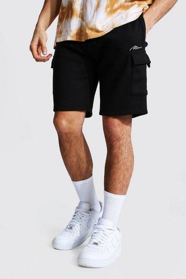 Black Man Signature Mid Length Cargo Jersey Shorts