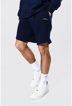 Navy Man Signature Mid Length Loose Jersey Shorts