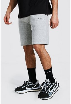 Grey marl grey Man Signature Mid Length Regular Jersey Short