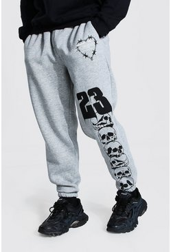 Grey marl grey Oversized Man Official Skull Joggers