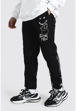 Black Regular Official Man Graphic Print Joggers