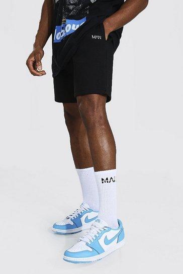 Black Original Man Mid Length Slim Jersey Shorts