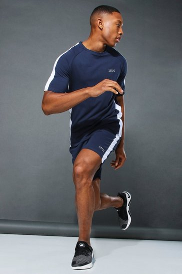 Navy Man Active Side Stripe T-shirt & Short Set