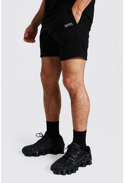 Black Original Man Short Length Slim Jersey Shorts