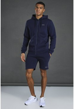 Sweat à capuche zippé et short - MAN, Navy marine