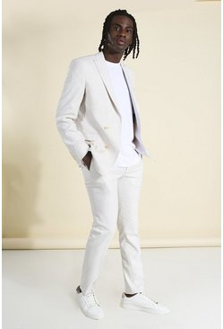 Ecru white Skinny Plain Double Breasted Suit Jacket