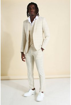 Skinny Fit Tonal Check Suit