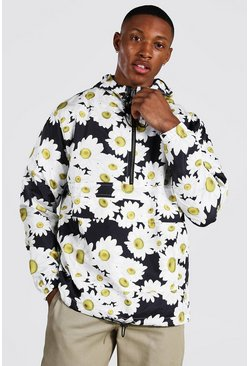 Black Daisy Print Hooded Overhead