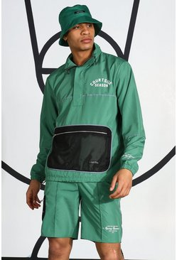 Green Ripstop Tracktop With Reflective Piping