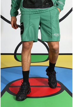 Green Ripstop Short With Reflective Piping