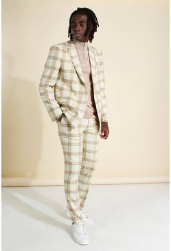 Ecru white Skinny Check Double Breasted Suit Jacket