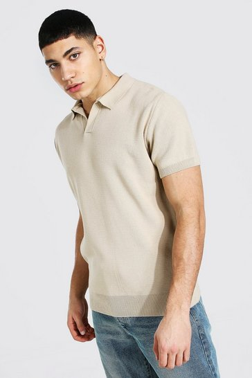 Stone beige Short Sleeve Revere Collar Knitted Polo