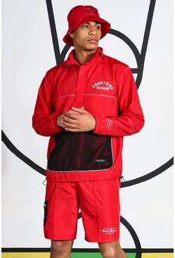 Red Ripstop Tracktop With Reflective Piping