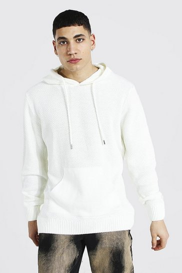 Cream white Knitted Over The Head Hoodie