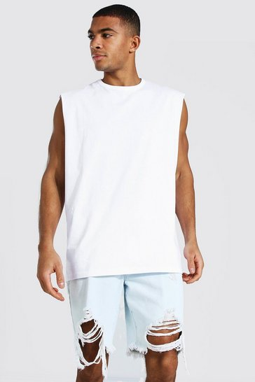 White Oversized Drop Armhole Tank